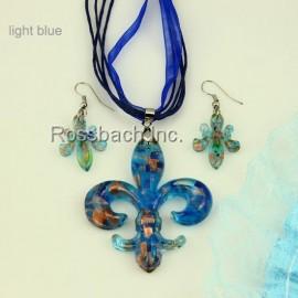 Fleur de Lys Glass jewelry set