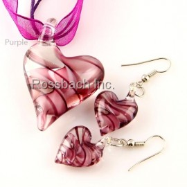 Heart Glass Jewelry set